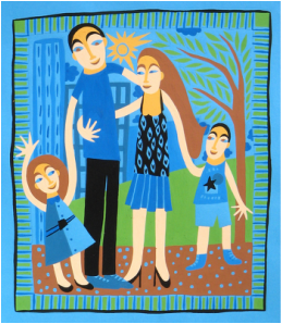 gouache naive famille cdemontardy